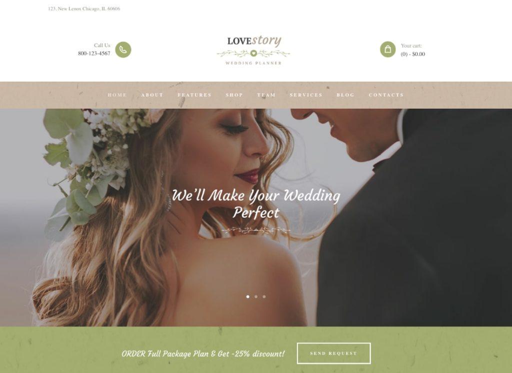 Histoire d'amour |  Un beau thème WordPress pour planificateur de mariage et d'événements