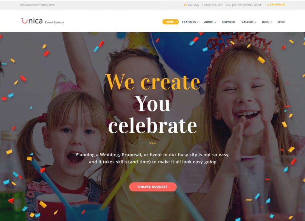 Unica |  Thème WordPress pour les anniversaires et les mariages de planification d'événements