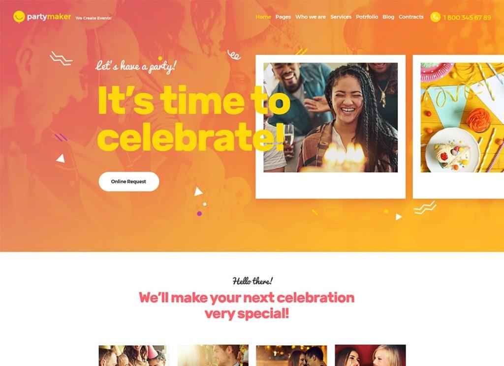 PartyMaker |  Thème WordPress pour planificateur d'événements et agence de mariage