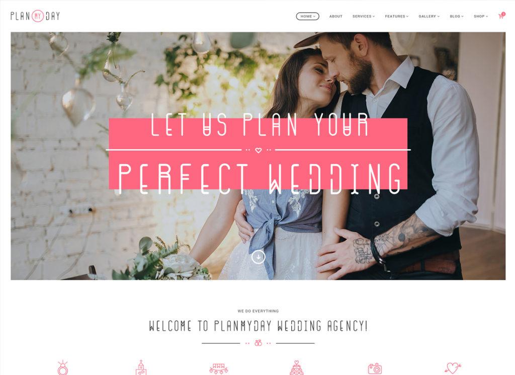 Planifiez ma journée |  Thème WordPress pour agence de planification de mariage / événementiel