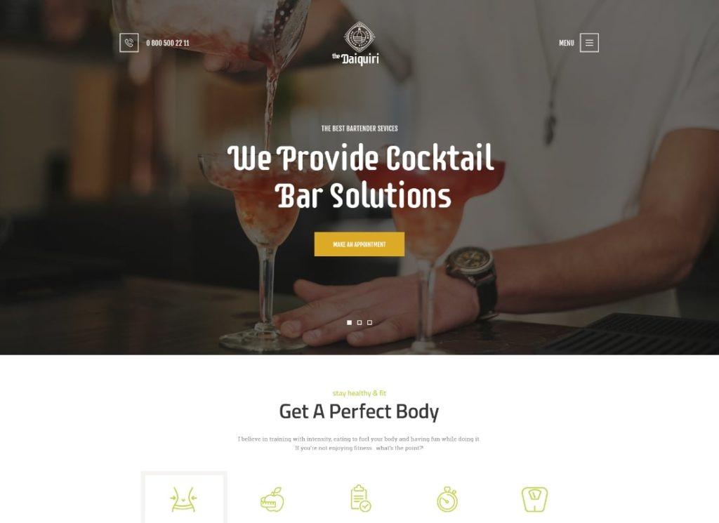 Daiquiri |  Thème WordPress pour les services de barman et les cocktails de restauration