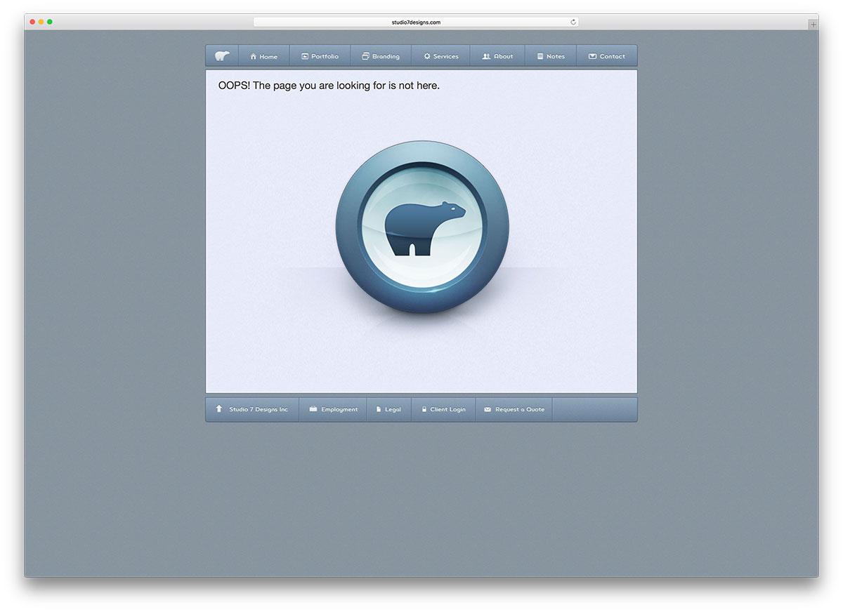 exemple de page d'erreur studio7designs