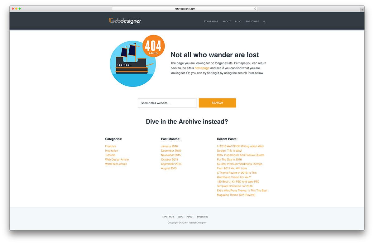Exemple de page d'erreur 1stwebdesigner-404