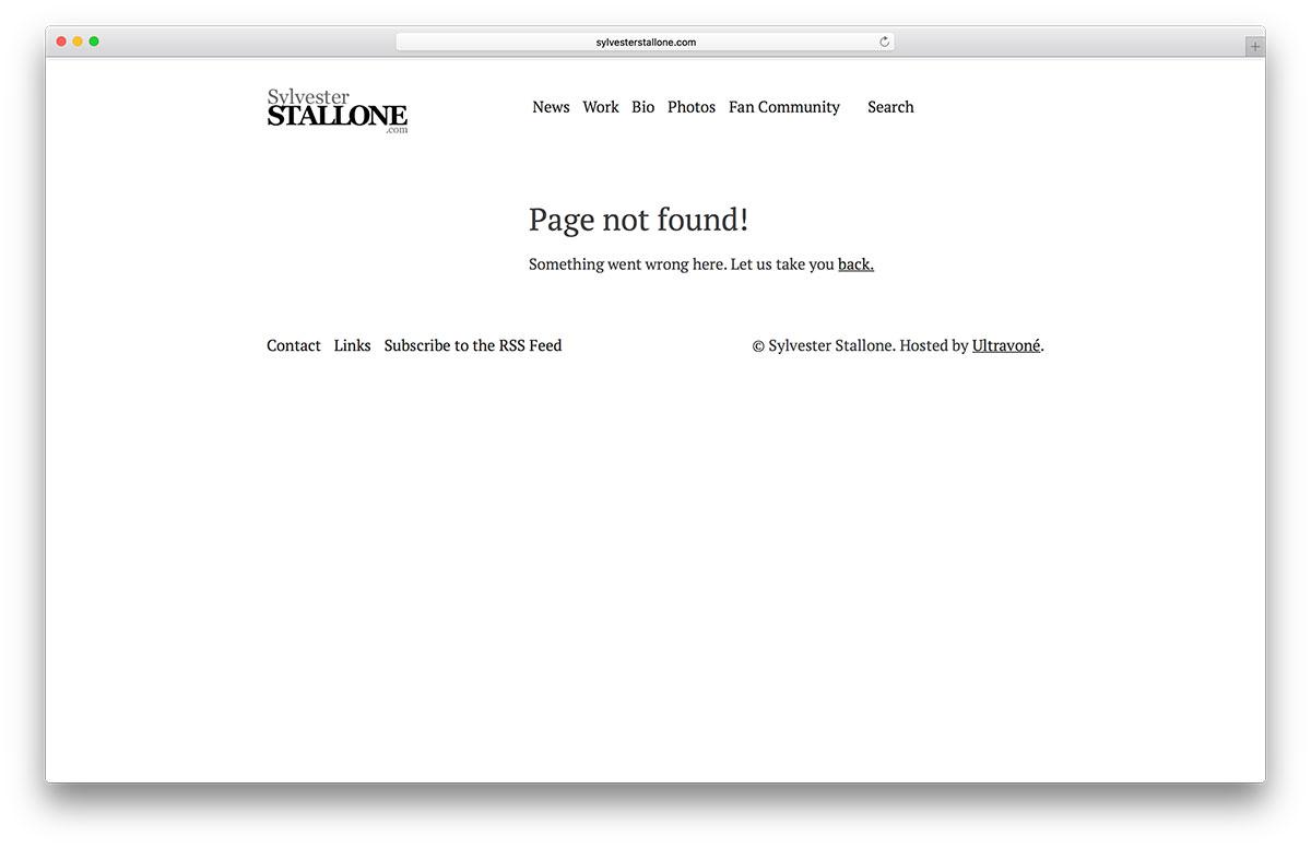 exemple de page d'erreur sylvesterstallone 404