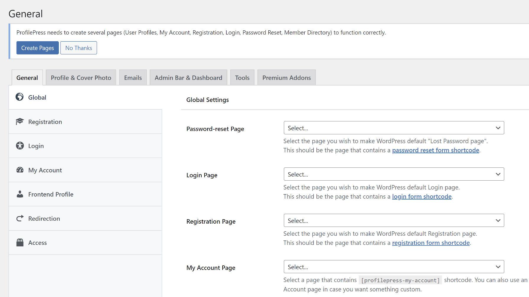 Écran des paramètres du nouveau plugin ProfilePress, qui présente plusieurs onglets pour les paramètres d'adhésion.