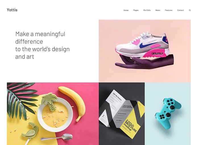 Yottis |  Thème WordPress pour portfolio créatif personnel + boutique