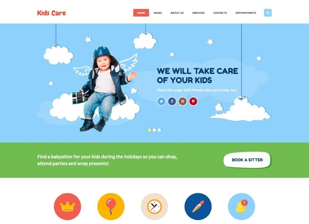 Soins des enfants |  Un thème WordPress polyvalent pour enfants
