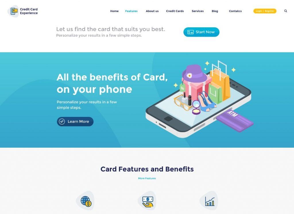 Expérience de carte de crédit |  Thème WordPress des sociétés de prêt et des services bancaires en ligne