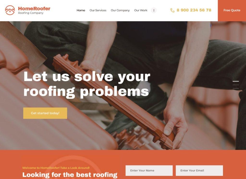 AccueilRoofer |  Thème WordPress pour les services des entreprises de toiture et la construction