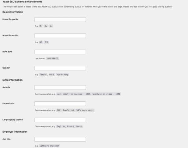 Capture d'écran illustrant les paramètres du schéma de la personne dans Yoast SEO Premium aidant à créer EAT