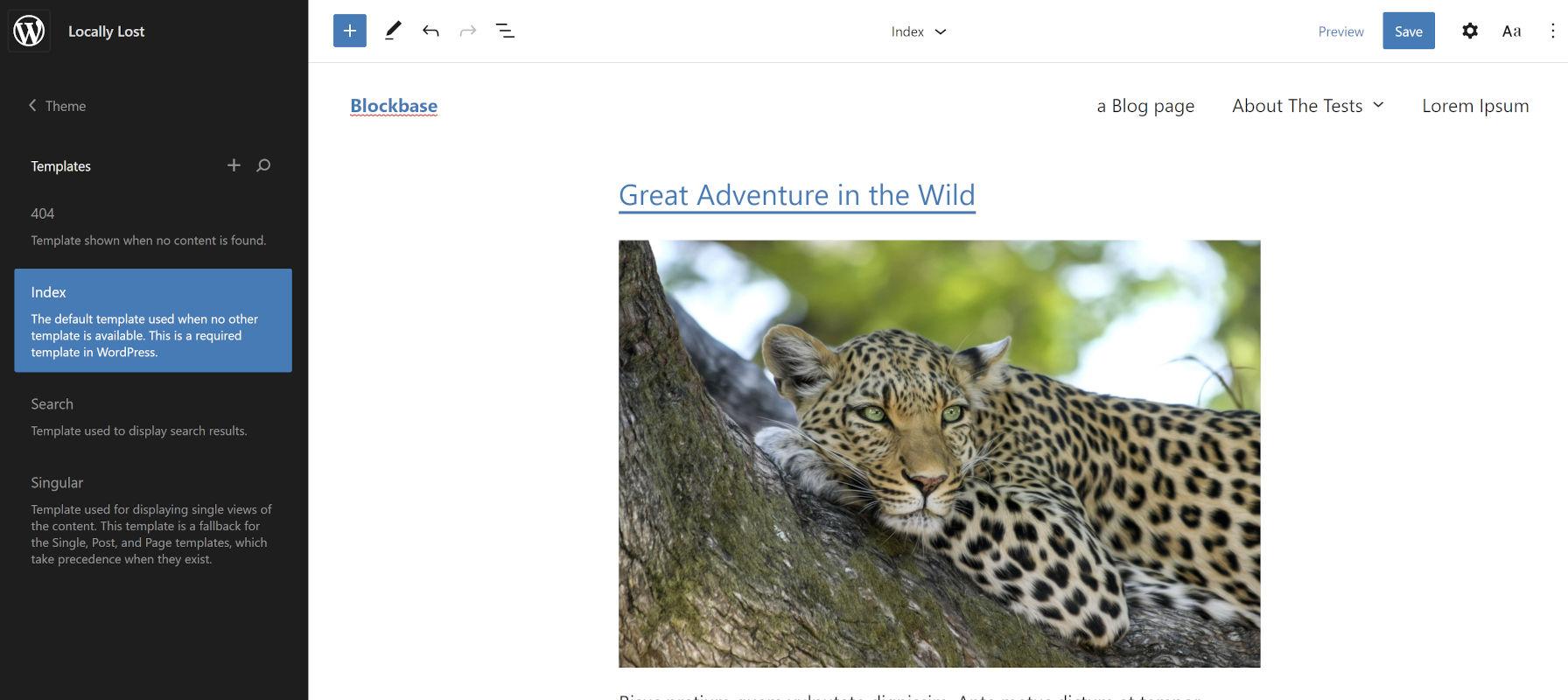 Affichage du thème WordPress de démarrage Blockbase dans le prochain éditeur de site.