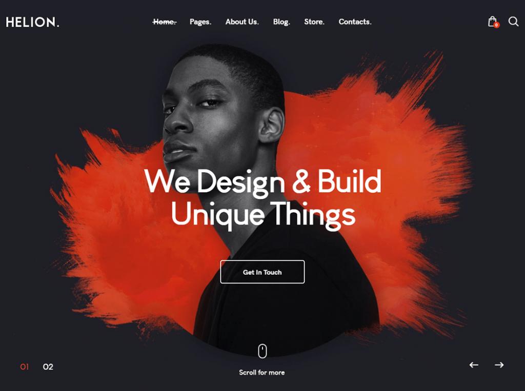 Helion |  Thème WordPress pour portfolio créatif personnel + boutique