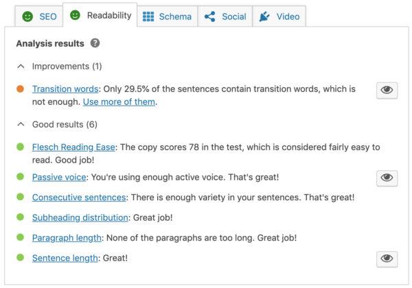 analyse de lisibilité dans la méta box yoast