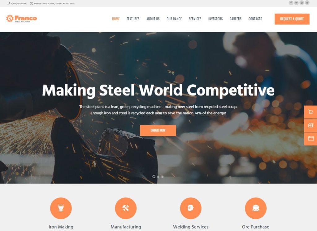 Franco |  Thème WordPress pour la fabrication des usines d'acier et des usines industrielles