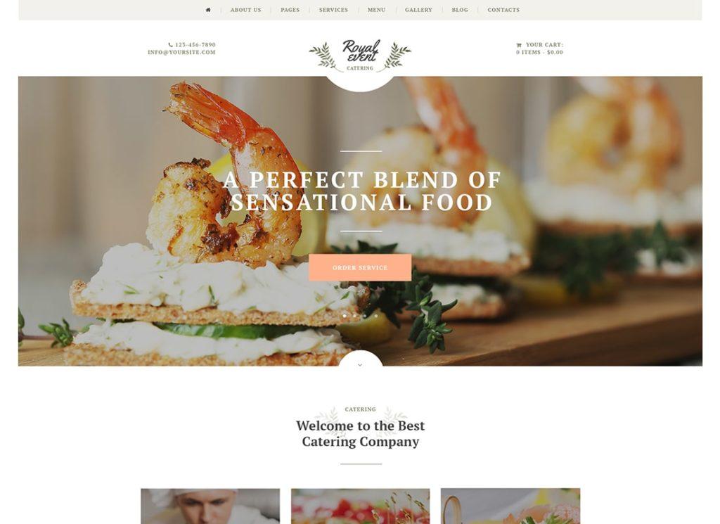 Événement royal |  Thème WordPress pour un organisateur de mariage et une entreprise de restauration + Elementor