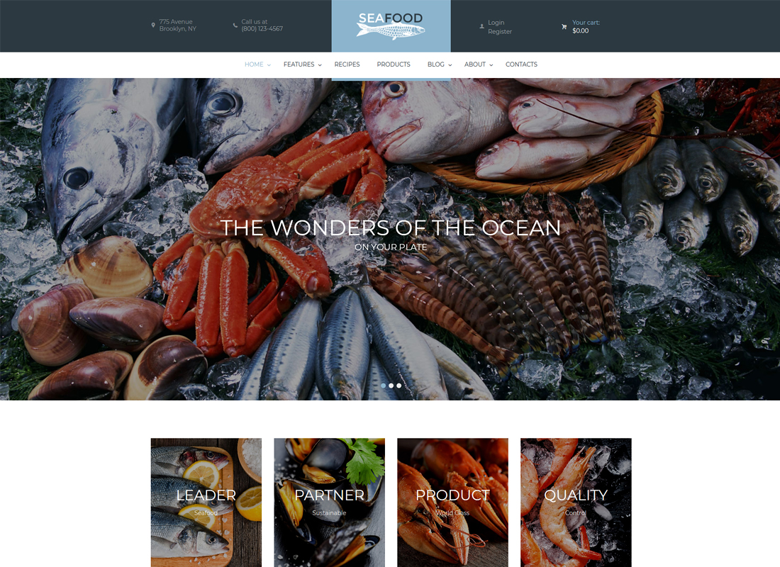 Thème WordPress pour entreprise de fruits de mer et restaurant