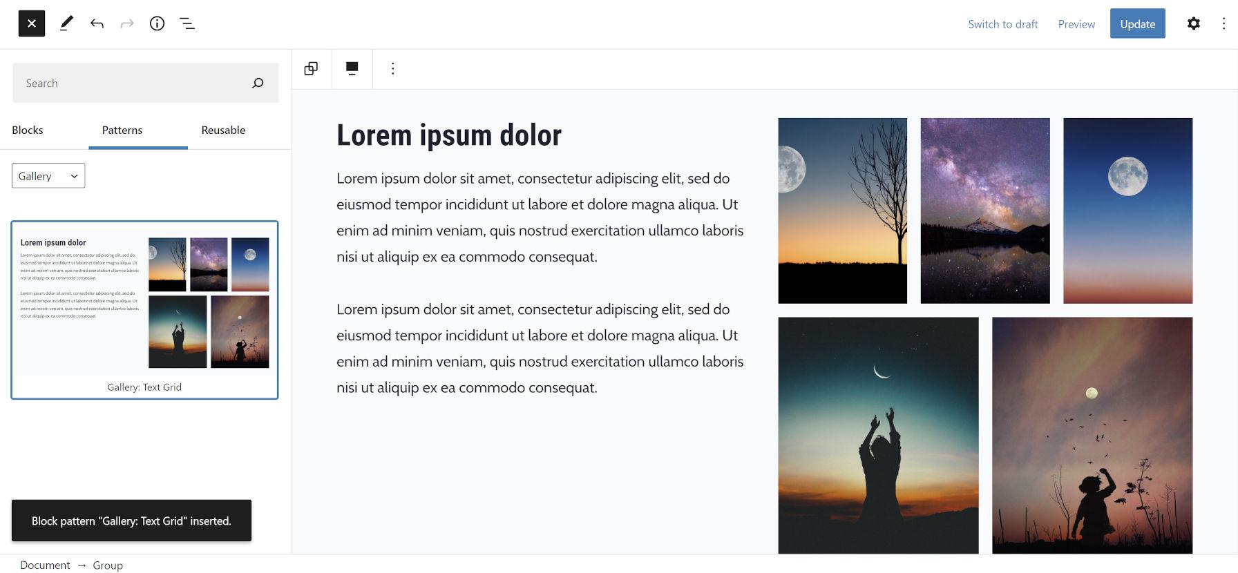 Éditeur WordPress avec le panneau des modèles de blocs ouvert.