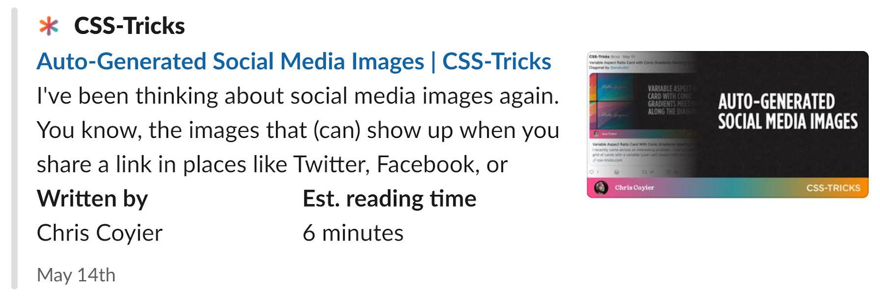 Image sociale affichée via un aperçu d'article Slack.