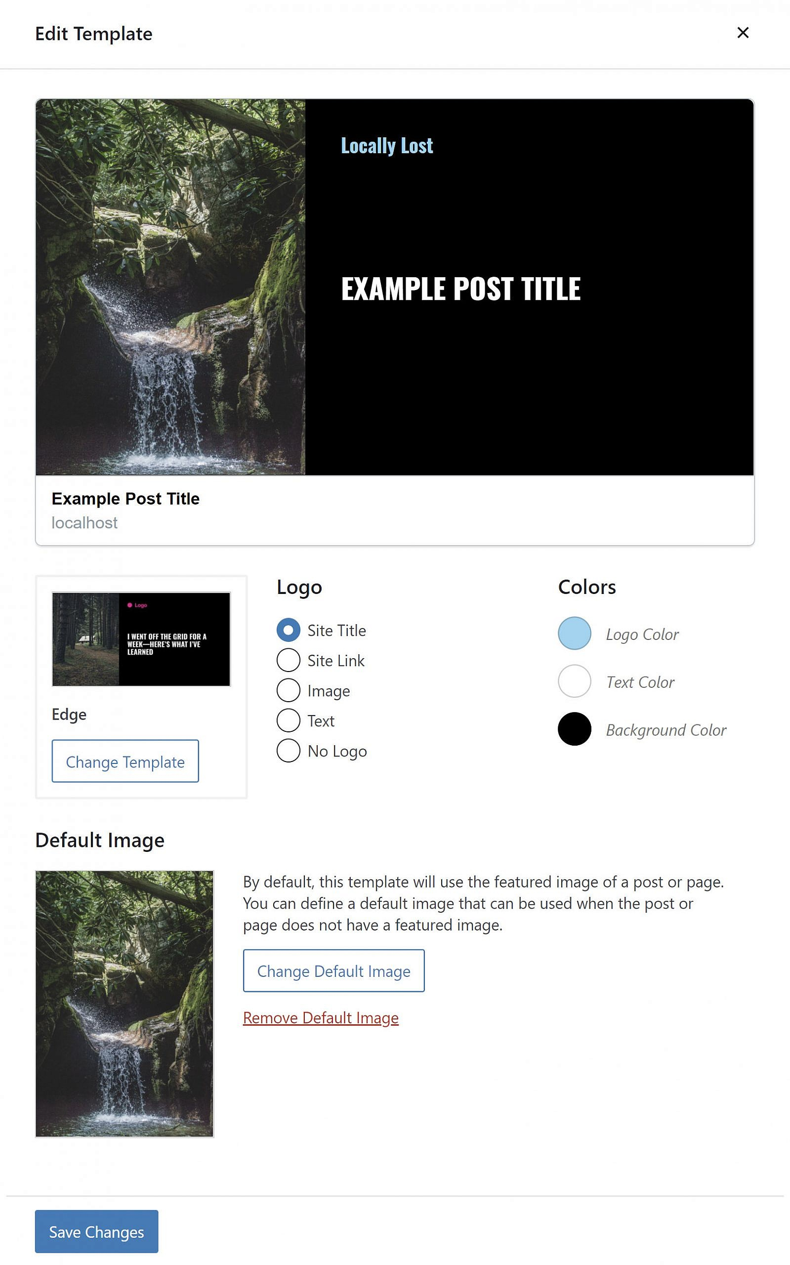 Popup/superposition d'édition de modèle pour le plugin WordPress Social Image Generator.
