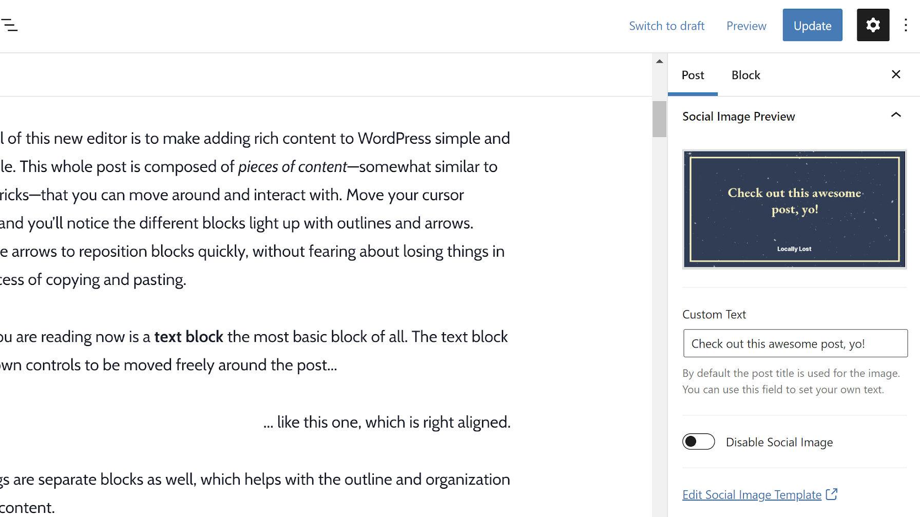 Personnalisation de l'image sociale via une boîte méta de la barre latérale de l'éditeur de publication WordPress.