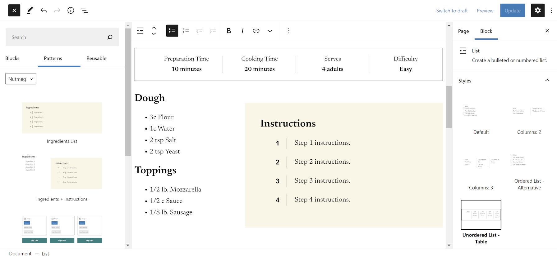 Ajout de modèles pour les instructions et les ingrédients dans l'éditeur WordPress.