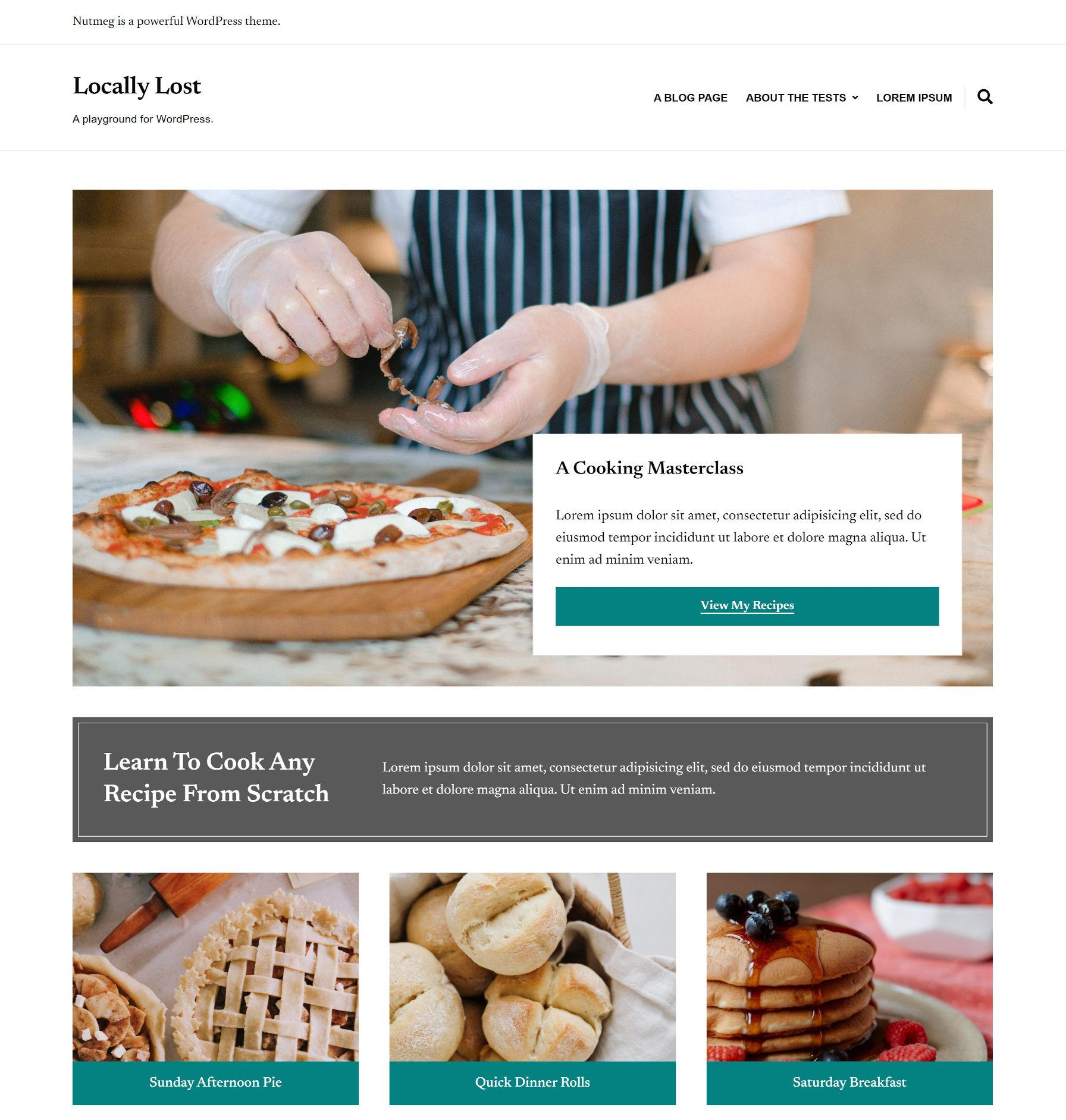 Capture d'écran d'une page d'accueil de blog de recettes construite avec les modèles de blocs de Nutmeg.