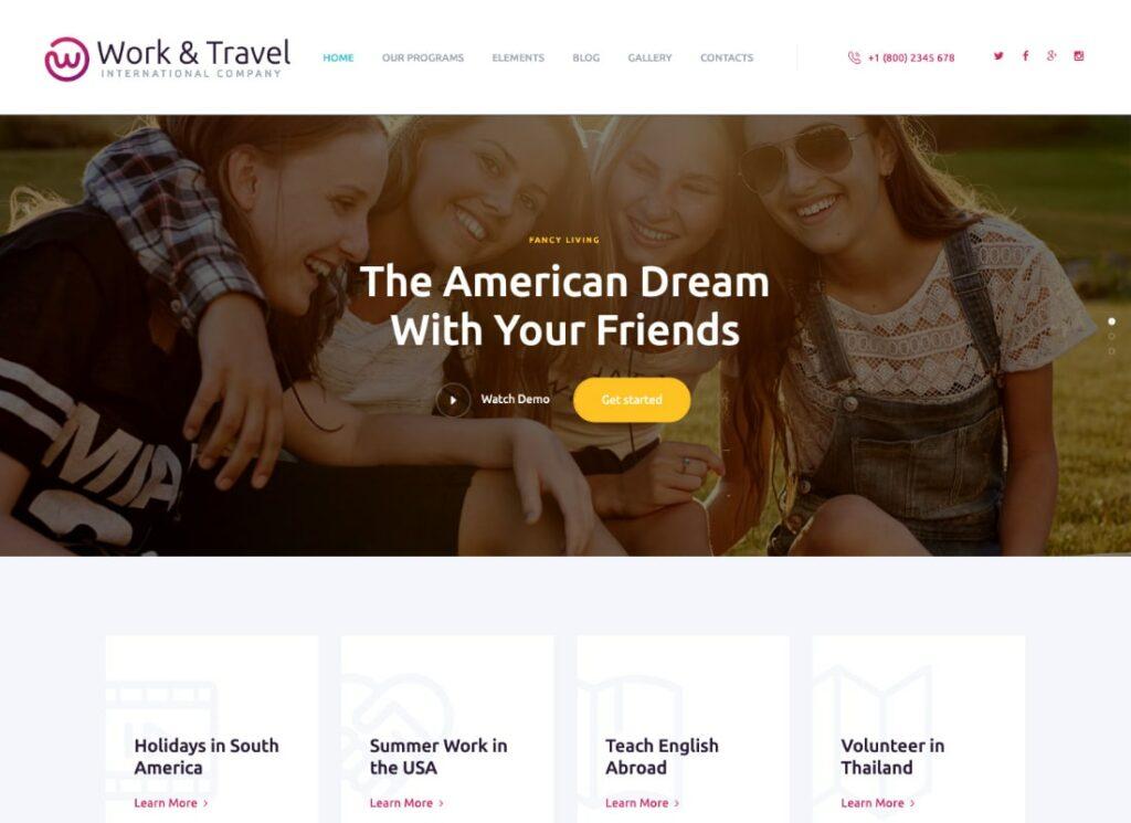 Travail & Voyage |  Thème WordPress pour les programmes d'entreprise et de jeunesse du travail et des voyages
