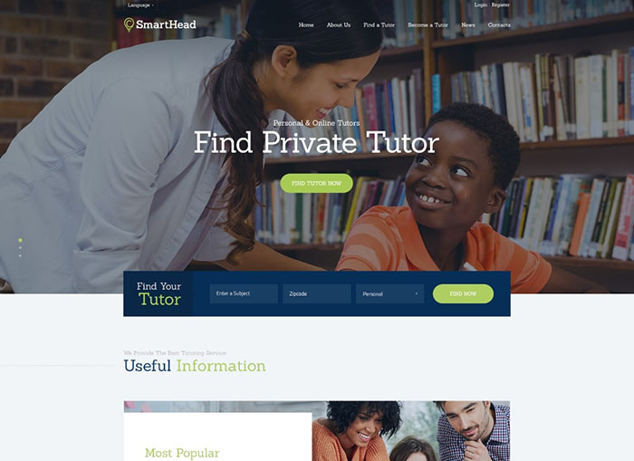 Tête intelligente |  Thème WordPress pour service de tutorat et éducation scolaire en ligne