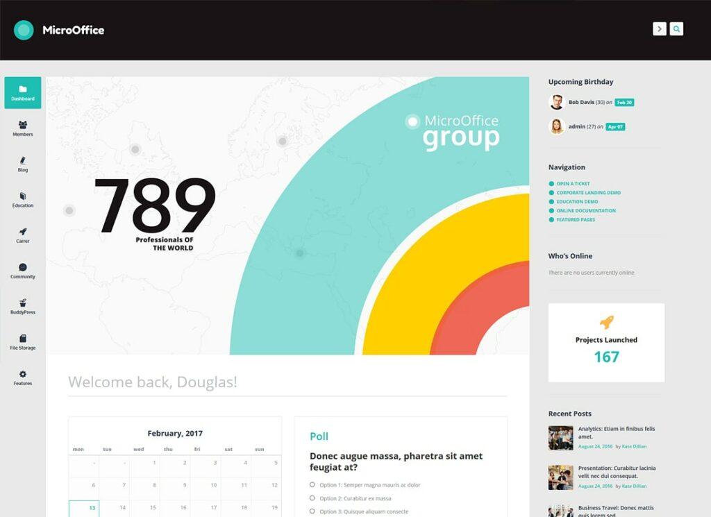 Micro-bureau |  Thème WordPress pour extranet et intranet