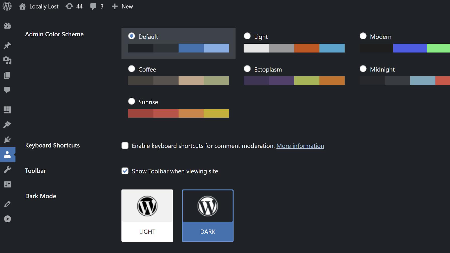 Écran de profil utilisateur WordPress affichant les options du plug-in The Dark Mode.