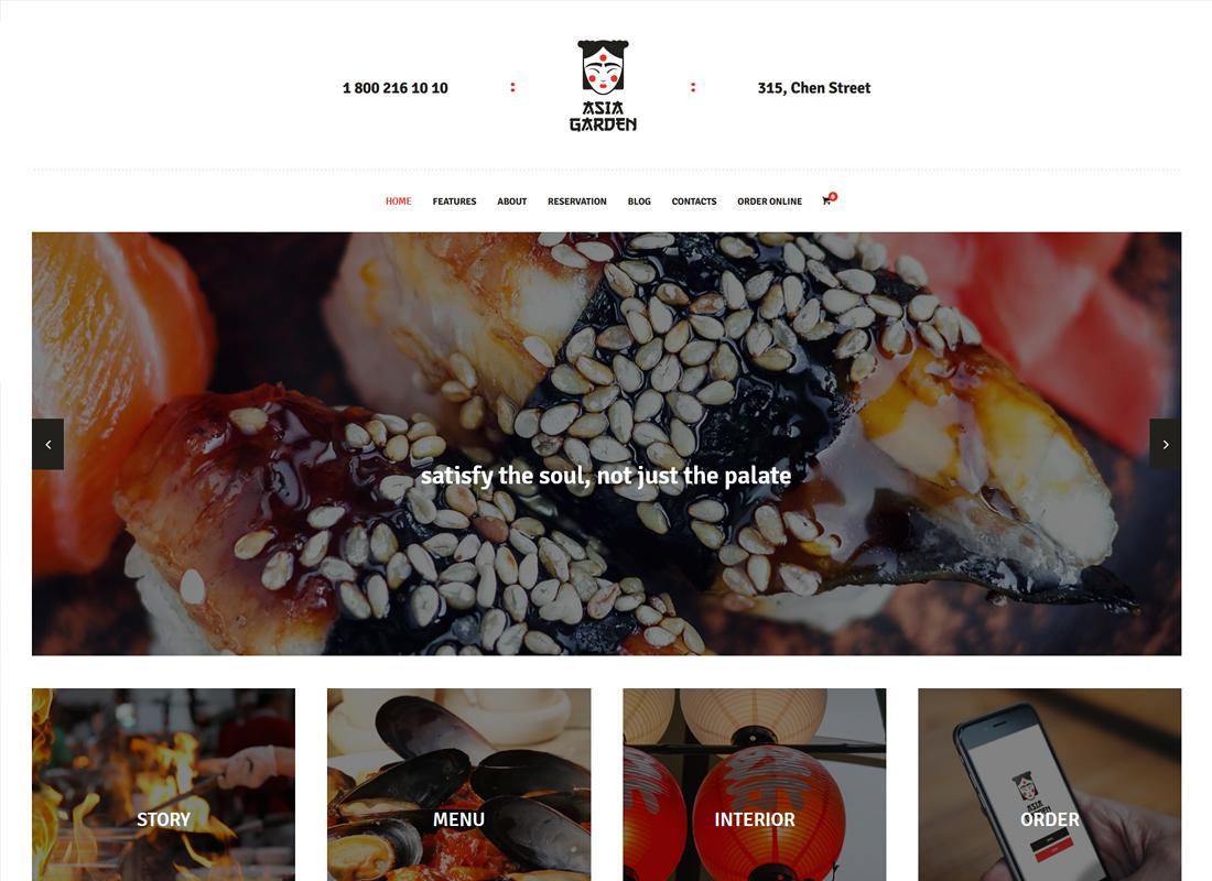 Jardin d'Asie |  Thème WordPress pour restaurant de cuisine asiatique