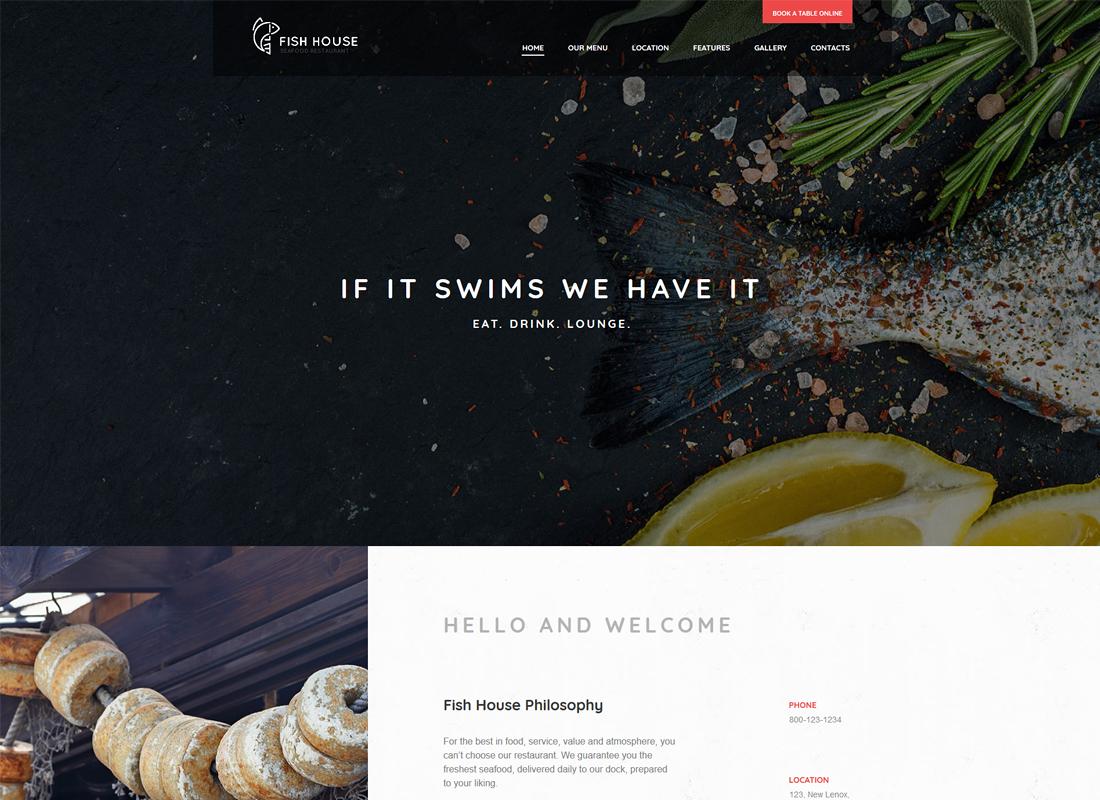 Maison de poisson |  Un thème WordPress élégant pour un restaurant / café / bar de fruits de mer