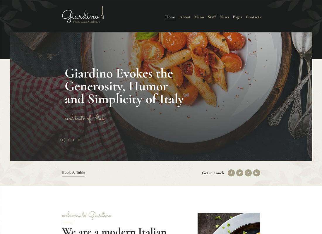 Giardino |  Un thème WordPress pour restaurant et café italien