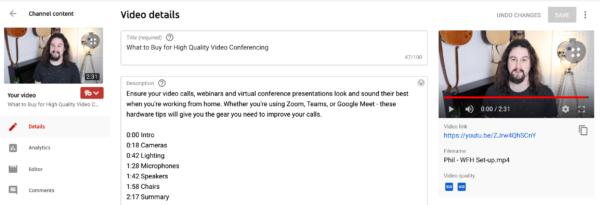 Image montrant comment ajouter des horodatages à votre vidéo YouTube en modifiant la description de la vidéo