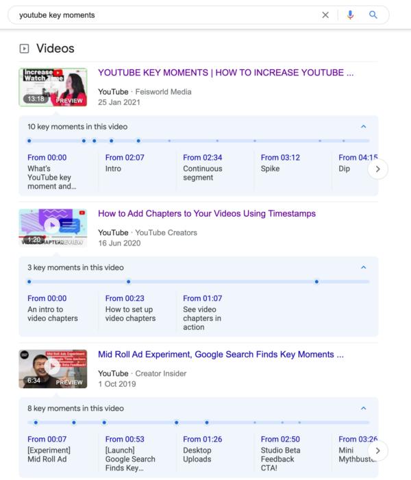 Image montrant les résultats de la recherche de vidéos contenant des vidéos YouTube avec des moments clés