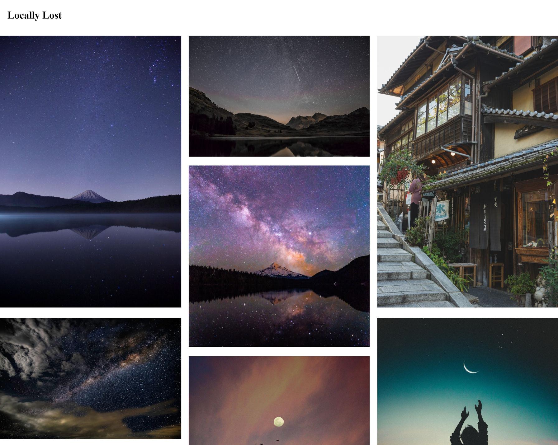 Capture d'écran d'une galerie de style maçonnerie du plugin CoBlocks WordPress.