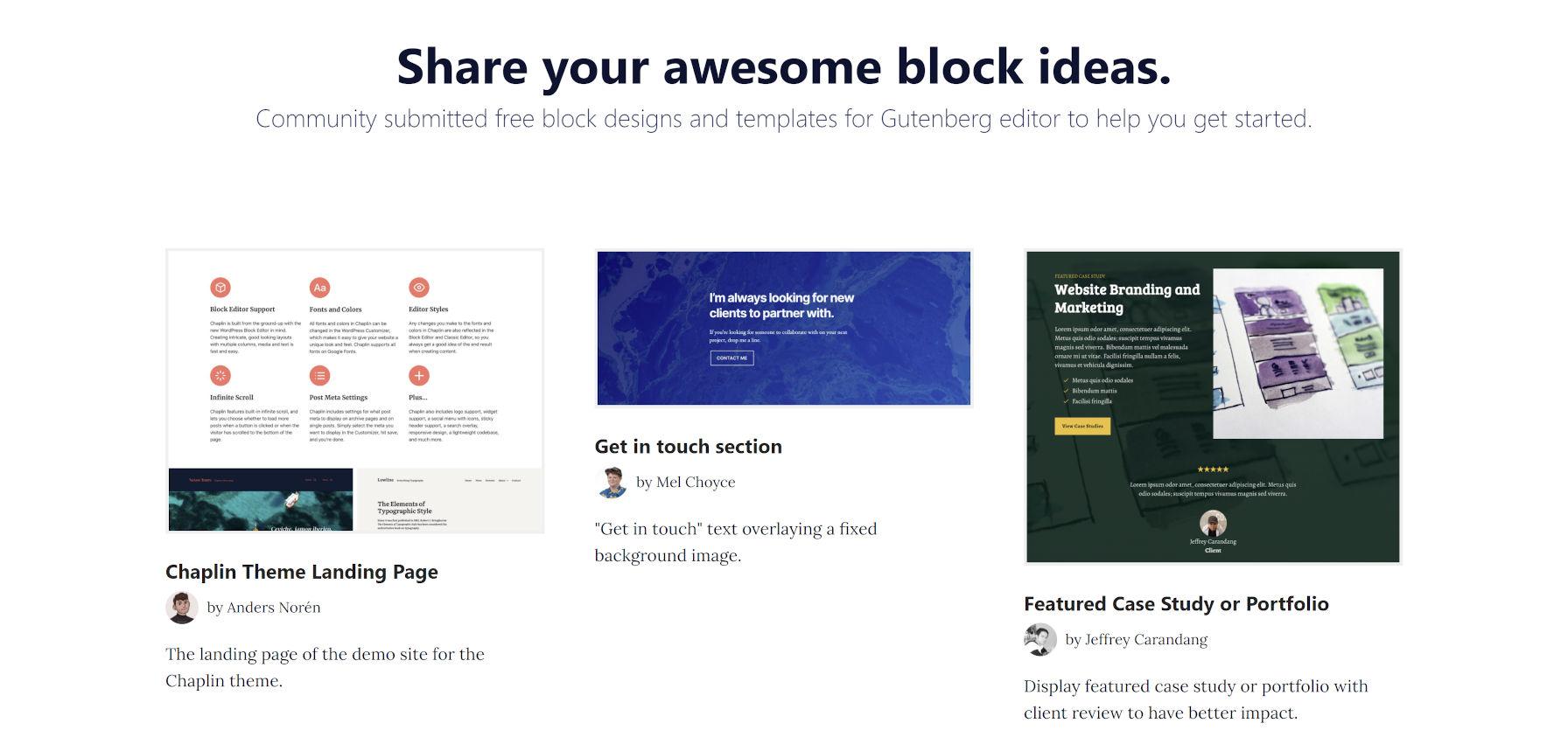 Capture d'écran de la page d'accueil du site Web ShareABlock.  Il propose des modèles de blocs téléchargeables.