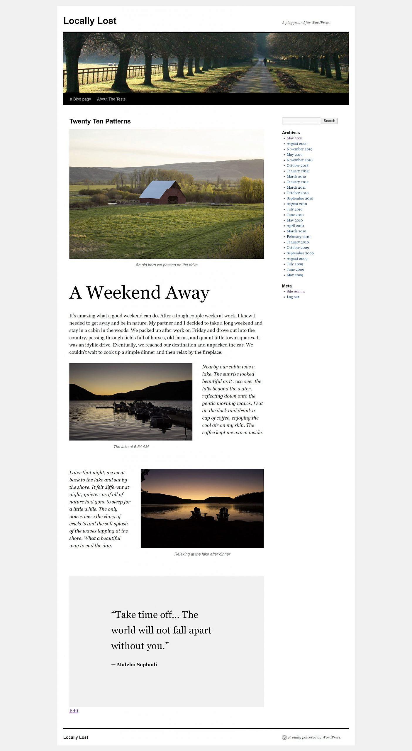 Capture d'écran pleine page du thème Twenty Ten et de ses trois nouveaux modèles de blocs.