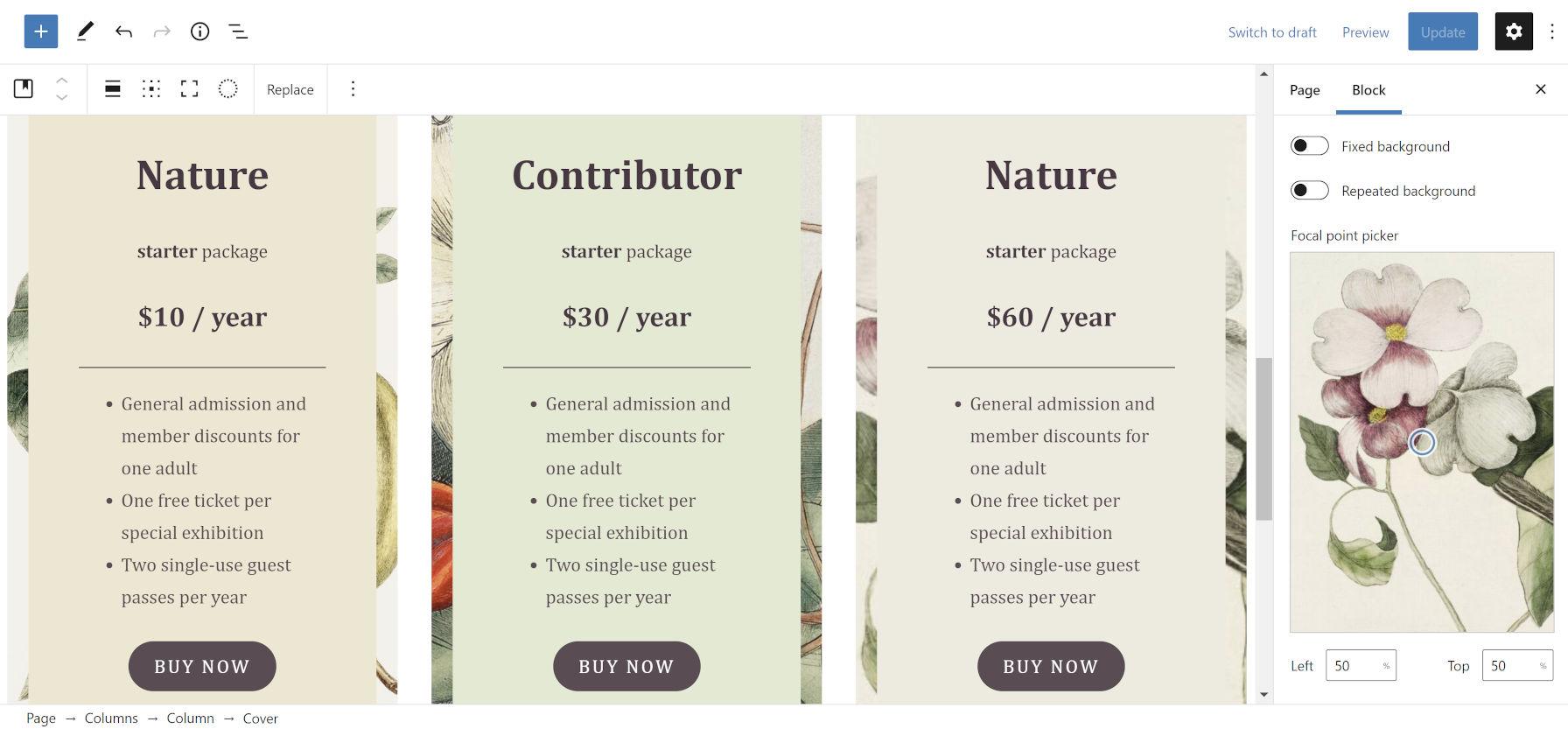 Les colonnes de tarification sur le thème de la nature se bloquent à partir du thème WordPress Clove.