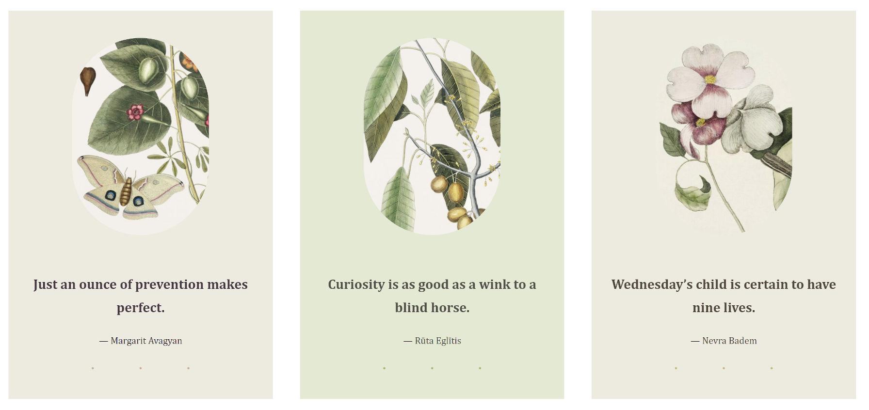 Trois colonnes d'images plus des citations, un modèle du thème WordPress Clove.