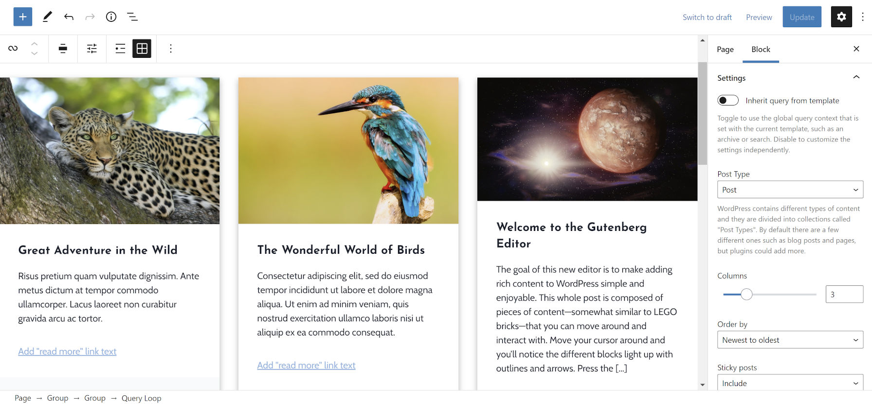 Affichage d'un bloc de boucle de requête dans l'éditeur de publication avec son panneau de barre latérale d'options de bloc ouvert.