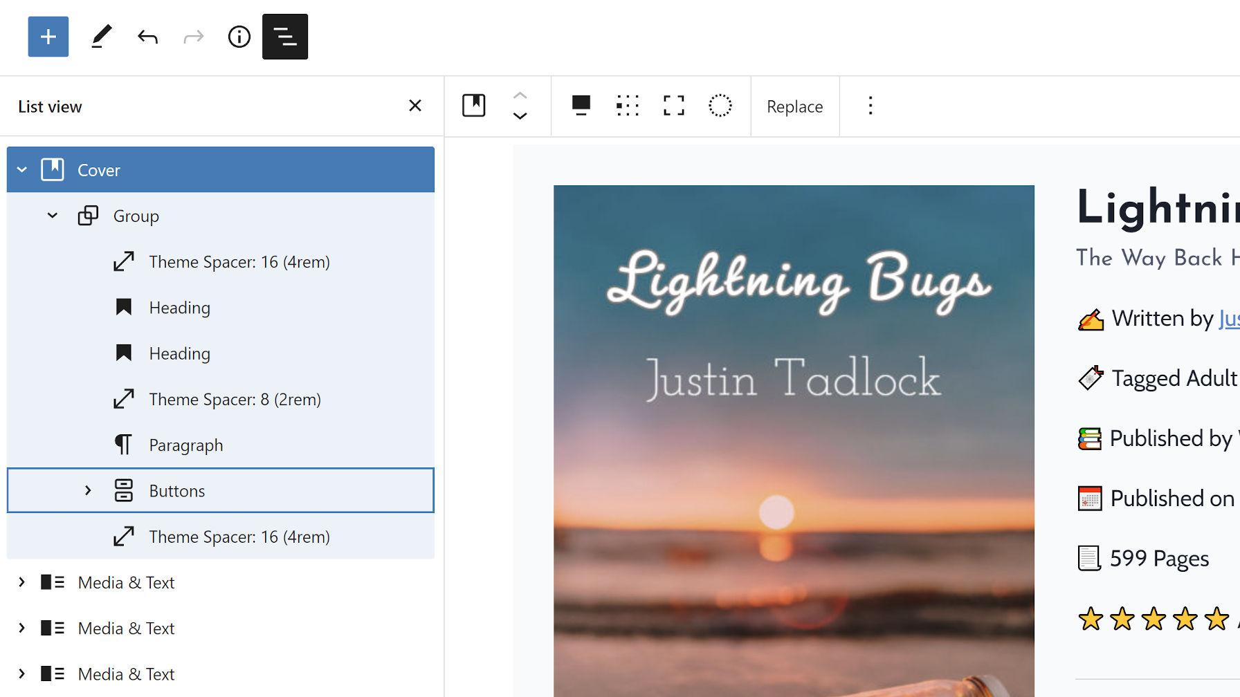 Vue de liste dans l'éditeur de publication, présentant des blocs développés et réduits avec des blocs internes imbriqués.