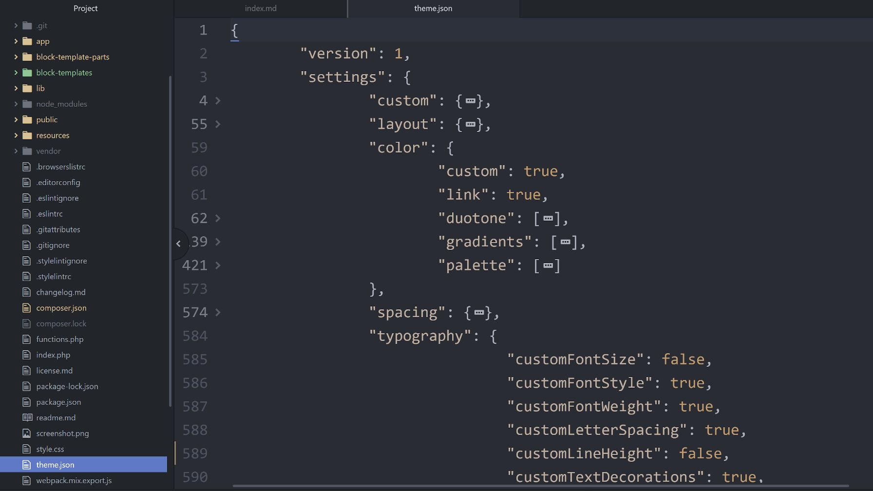 Capture d'écran d'un fichier theme.json dans un éditeur de code.