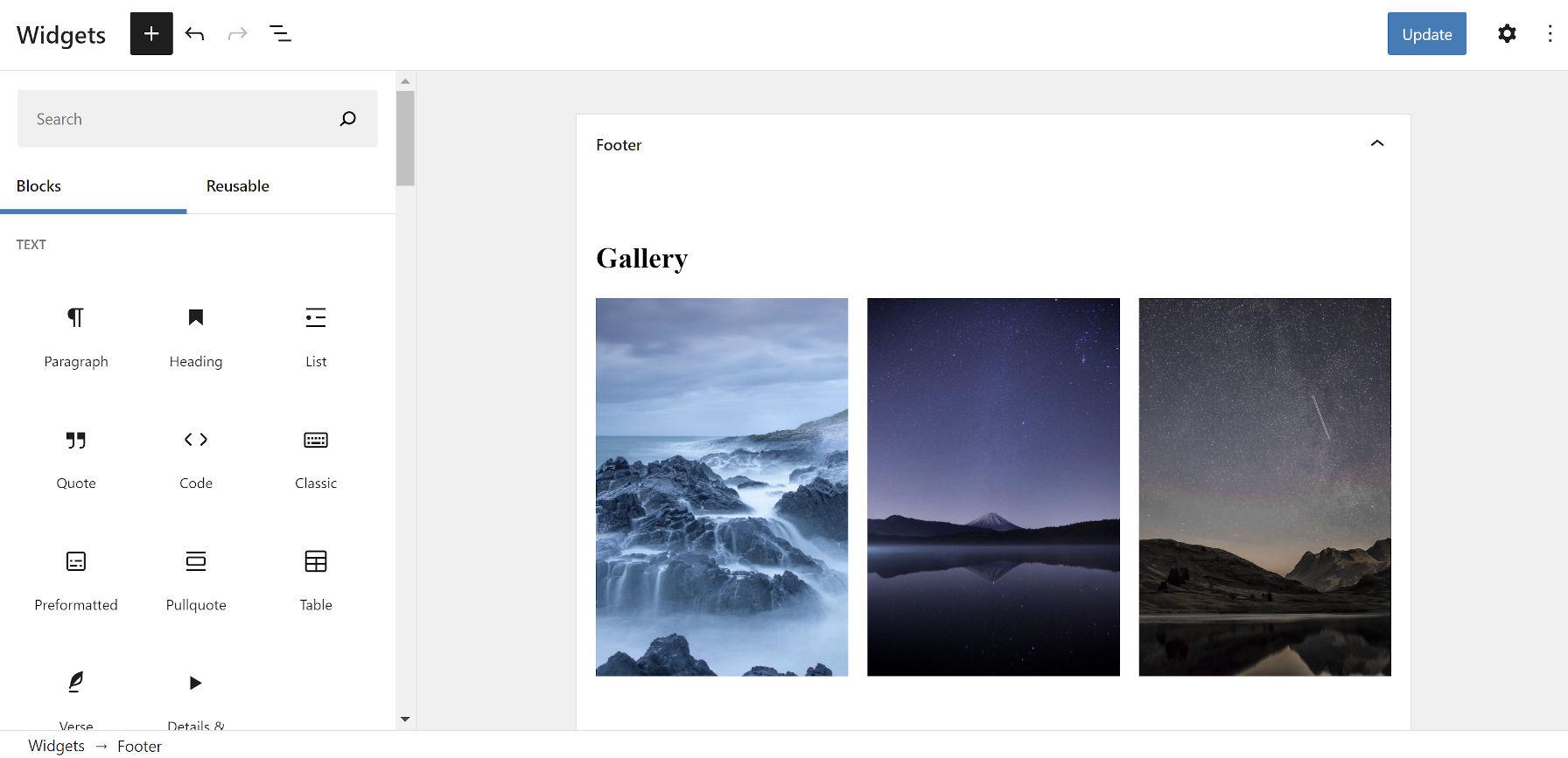 Ajout d'un bloc Galerie à la barre latérale de pied de page dans l'écran des widgets de bloc WordPress.