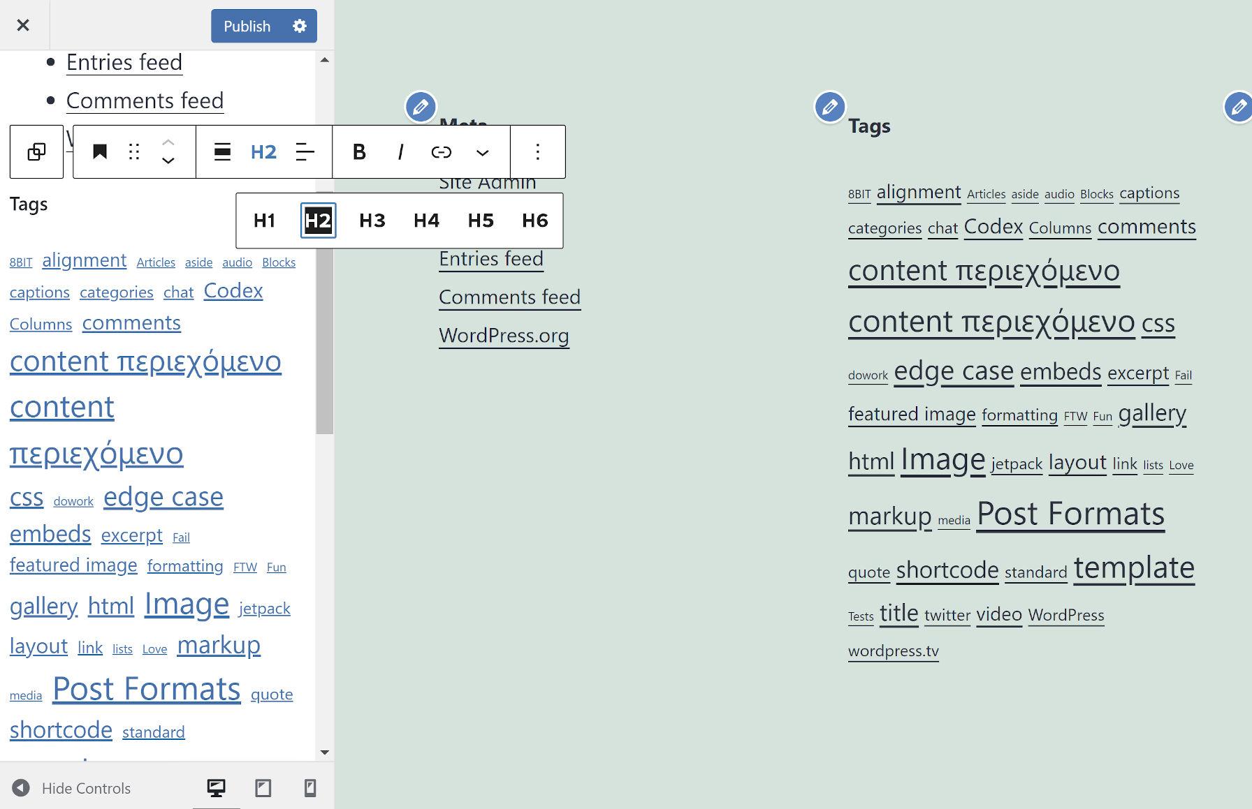 Modification d'un bloc de titre dans le panneau de commandes de personnalisation de WordPress.