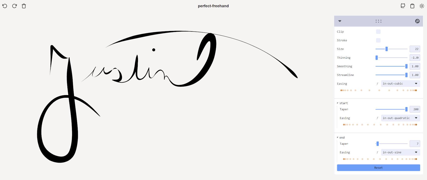 """""""Justin"""" écrit dans la démo Perfect Freehand, dessiné à la main."""