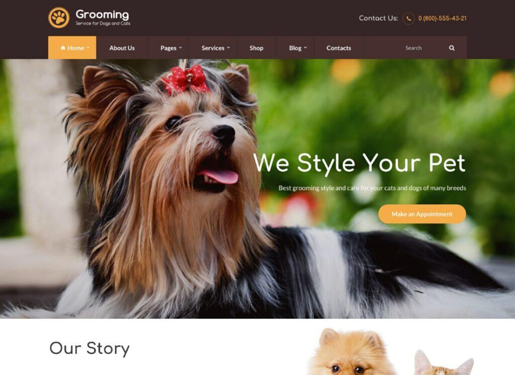 Toilettage |  Thème WordPress pour animalerie et médecin vétérinaire