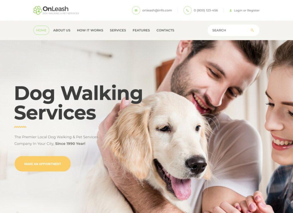 en laisse |  Thème WordPress vétérinaire pour promenades de chiens et services pour animaux de compagnie