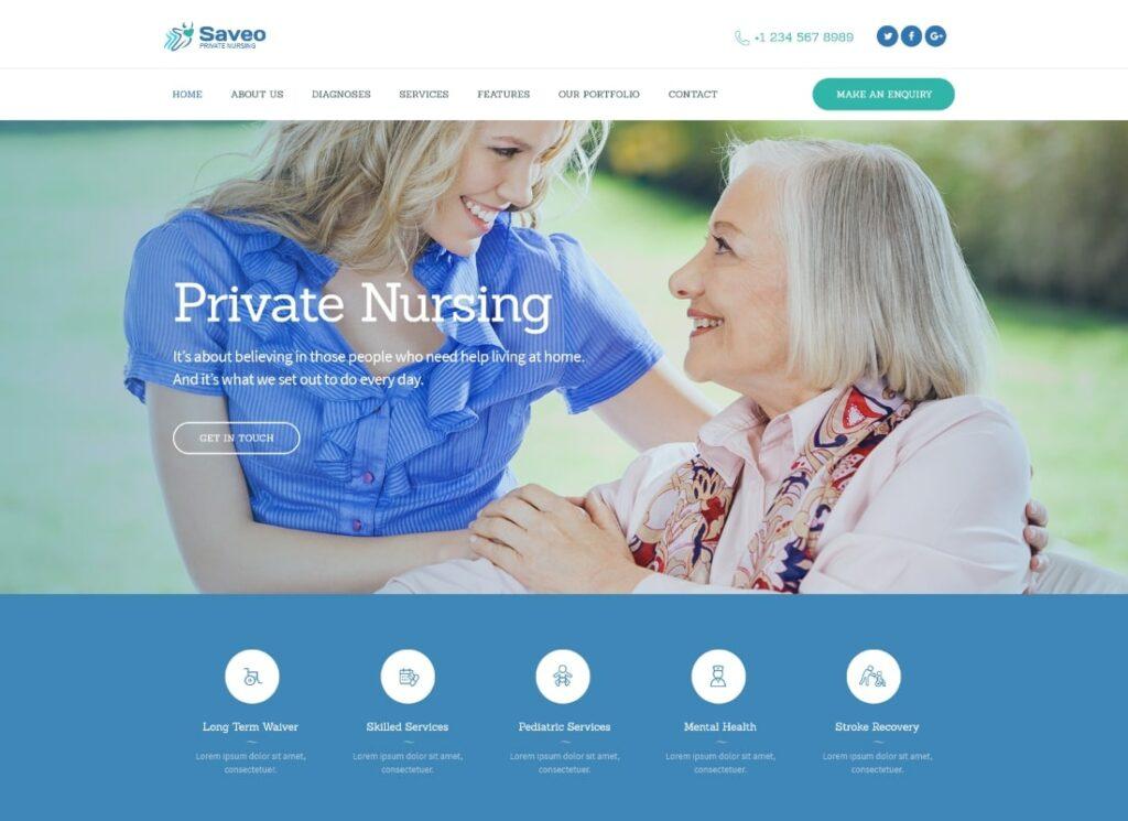 Saveo |  Thème WordPress pour les soins à domicile et les agences de soins infirmiers privés