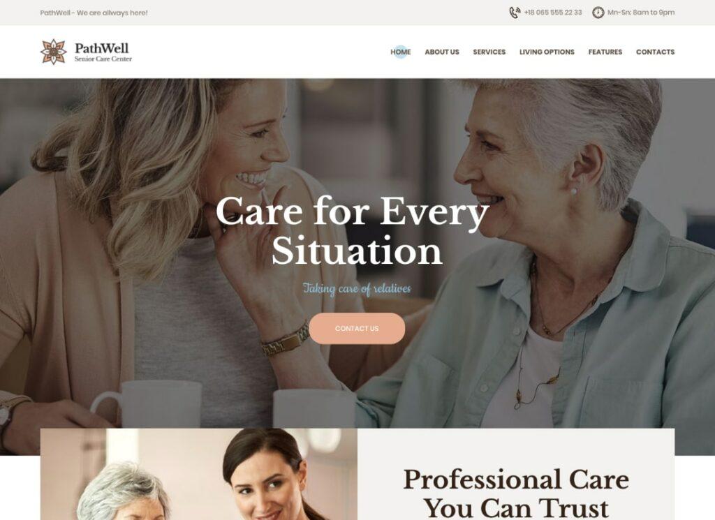 PathWell |  Un thème WordPress pour un hôpital de soins aux personnes âgées
